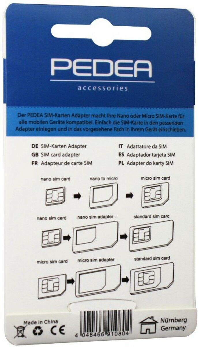 Sim Karten Adapter Maße.Pedea Micro Und Nano Sim Adapter Kit 3 Er Pack Neu Ovp Vom Fachhändler